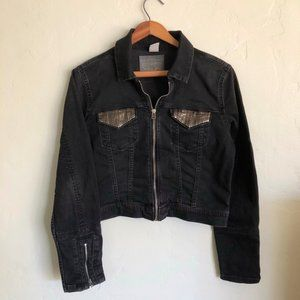 Levi's Black Denim Sequin Moto Jacket
